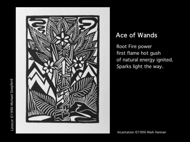 Ace of wands with incantation aletheus light shadow tarot
